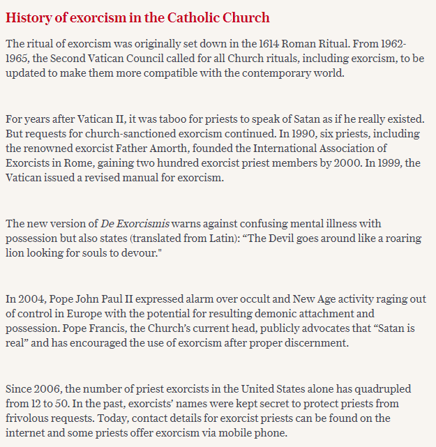 The history of exorcism.