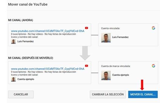 mover canal de youtube