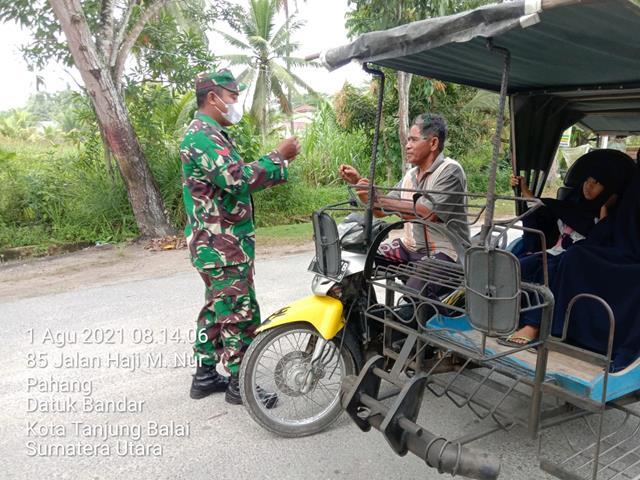 Laksanakan Pengamanan Disiplin Mandiri Covid 19 Dilakukan Personel Jajaran Kodim 0208/Asahan Diwilayah Binaan