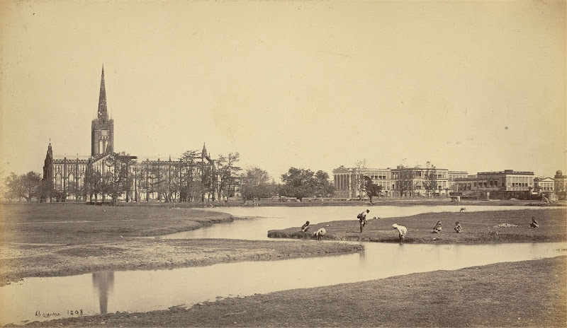 St. Paul's Cathedral and the Bishops' Palace - Calcutta (Kolkata) Circa 1865