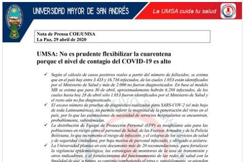 UMSA: No es prudente flexibilizar la cuarentena porque el nivel de contagio del COVID-19 es alto