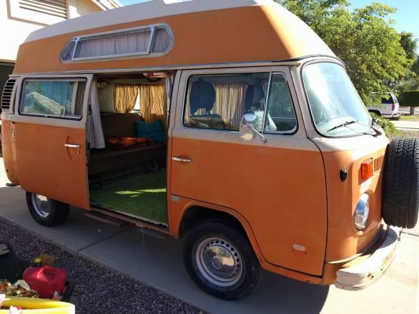 Orange High Top Camper | vw bus wagon