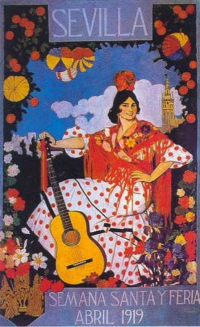 Flamenco dancer in traditional polka dot costume for 1919 Travel Poster