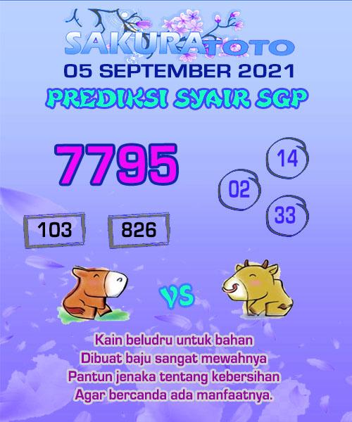 Syair Sakuratoto SGP Minggu 05 September 2021