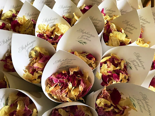 Flower-petal confetti in personalized cones at a recent wedding in Washington, D.C.