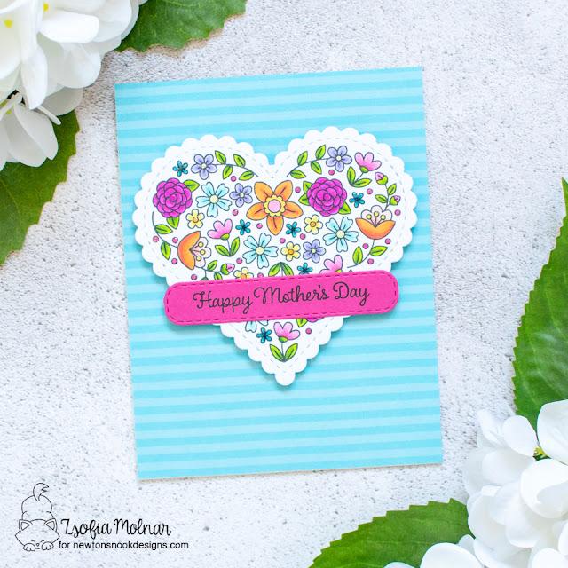 Mother's Day Card by Zsofia Molnar | Heartfelt Blooms Stamp Set, Mom & Dad Stamp Set, Heart Frames Die Set and Banner Trio Die Set by Newton's Nook Designs #newtonsnook