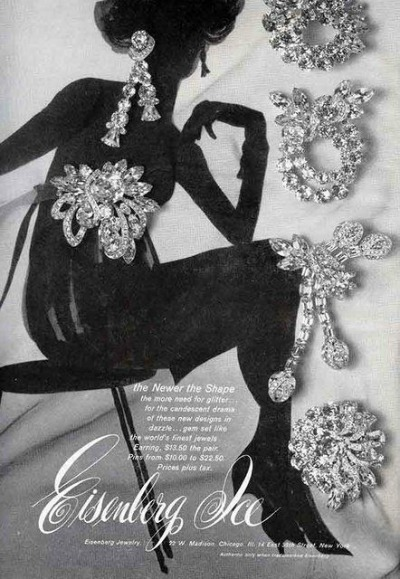 Ad for Eisenberg Ice from 1958 depicting woman in sillhouette with rhinestone jewelry surrounding her