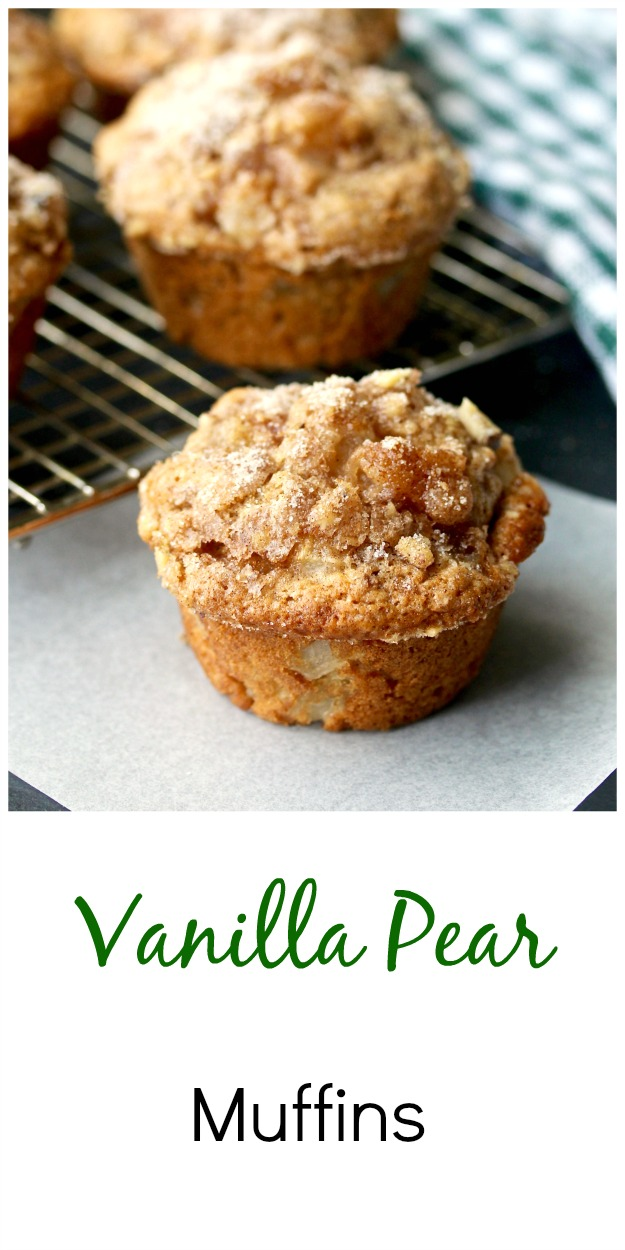 Vanilla Pear Muffins on a rack with a walnut topping