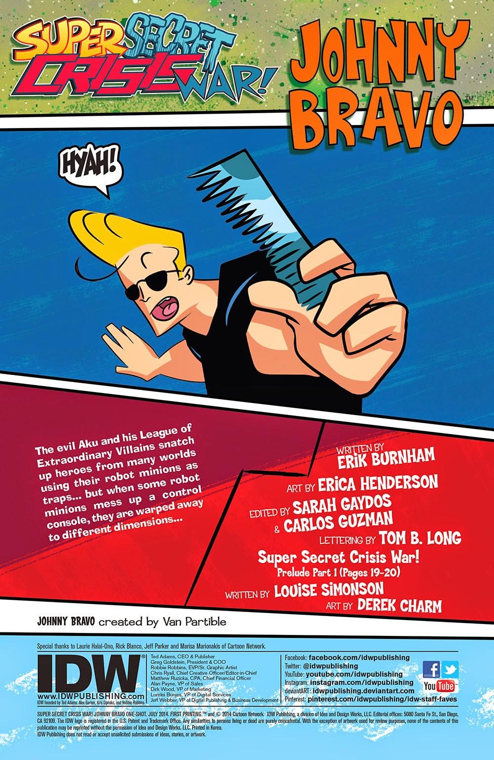 Super Secret Crisis War Johnny Bravo 1SUB FN 2014 Stock Image