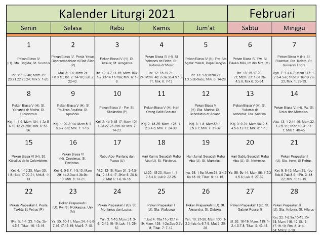 Download Kalender Liturgi Februari 2021 Tahun B/1 PDF Excel dan JPEG