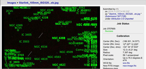 Using Astrometry.net to identify sky location of the satellites (Source: Palmia Observatory)