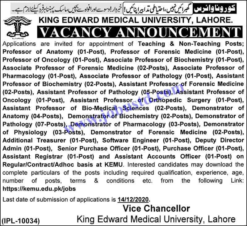 Jobs in King Edward Medical University (KEMU) Nov 2020