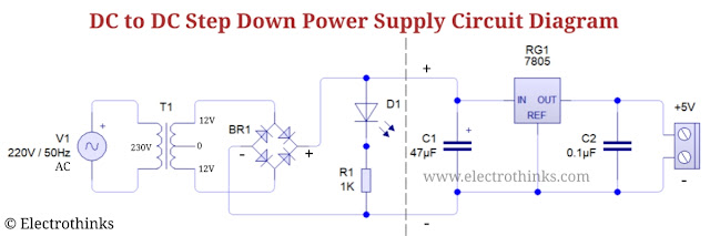 Schematic of DC to DC Step Down Power Supply Circuit with 7805, 5V Regulated DC Power Supply