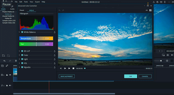 دورة تعلم وشرح filmora9 كيفية تصحيح ألوان الفيديو والصور filmora color correction