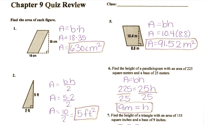 Grade 6 Math with Ms  Eringis : ANSWER KEY CH 9 QUIZ REVIEW
