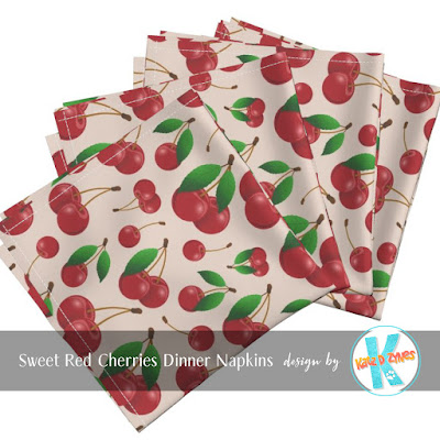 Sweet red cherries pattern custom dinner napkins from katzdzynes