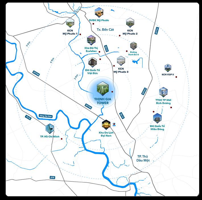 Vị trí dự án khu đô thị Thịnh Gia