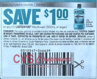 "$1/1 Listerine Mouthwash Coupon from ""RetailMeNot"" insert week of 6/7/20."