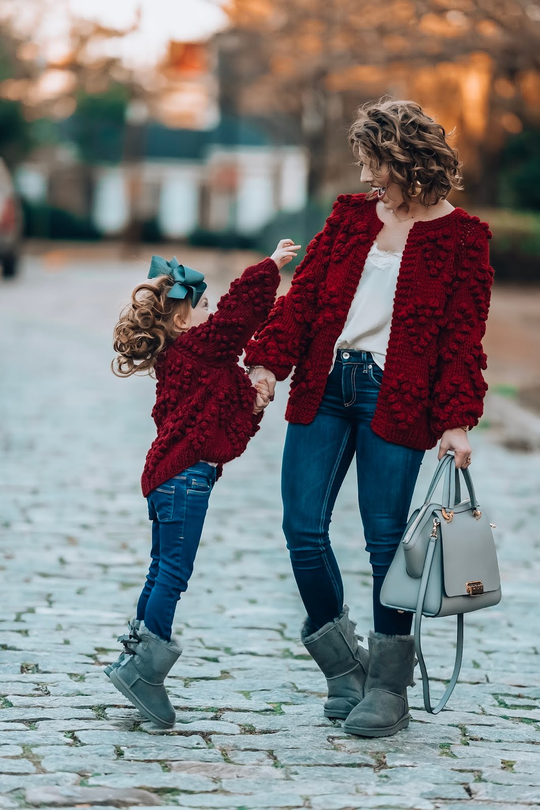 Mommy & Me Burgundy Pom Pom Heart Cardigans - Something Delightful Blog