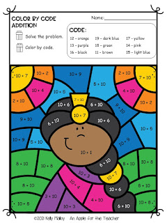 Diwali Color by Number Addition girl colored