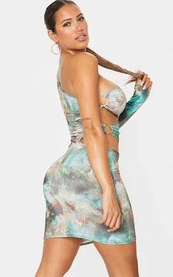 Shape Green Flame Print Ring one shoulder bodycon dress back side