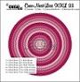 Set van 12 stansen voor cirkels met dubbele stiksteeklijnen. Set of 12 dies for circles with double lockstitch lines.