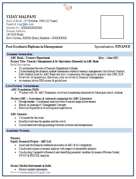 resume format download pdf