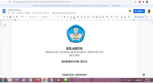 Download Silabus Kelas 6 Tema 3 Kurikulum 2013 Revisi Terbaru dan Terpadu