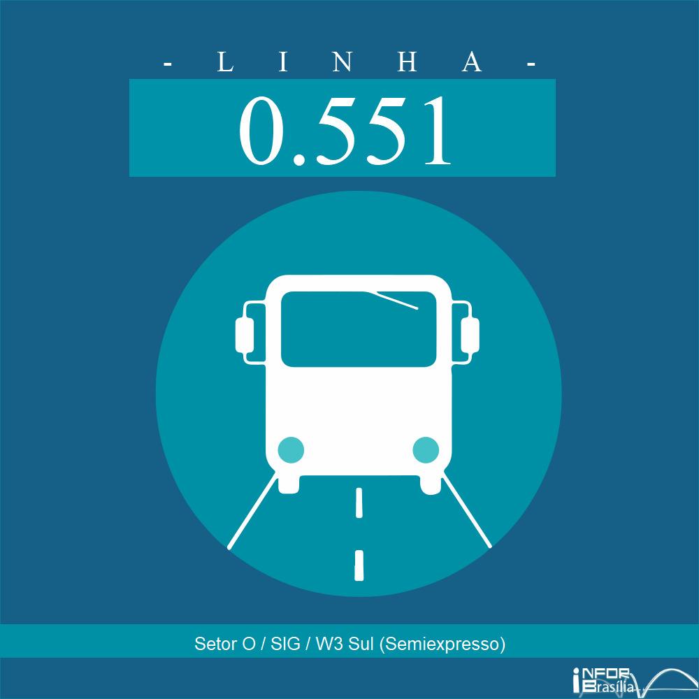 Horário de ônibus e itinerário 0.551 - Setor O / SIG / W3 Sul (Semiexpresso)