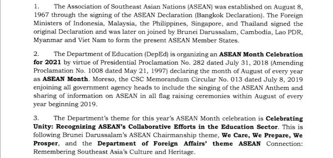 DEPED   2021 ASEAN MONTH CELEBRATION   SCHEDULE OF ACTIVTIES   READ & DOWNLOAD