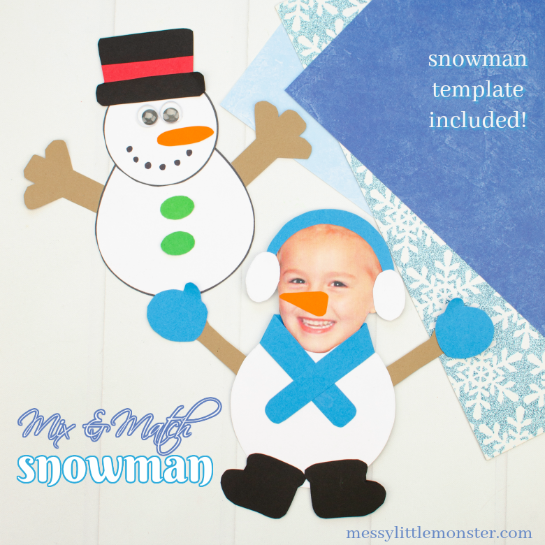 Mix and Match Paper Snowman Craft (with printable snowman template)
