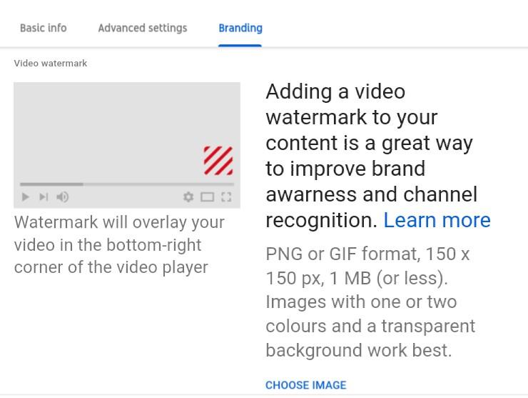 youtube studio setting for branding