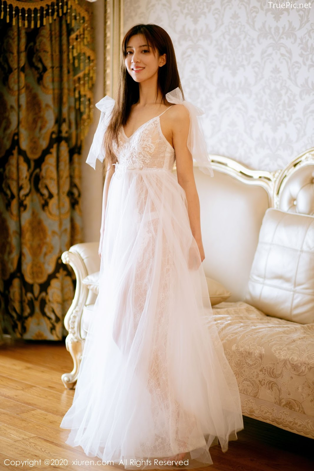 XIUREN No.1914 - Chinese model 林文文Yooki so Sexy with Transparent White Lace Dress - Picture 6