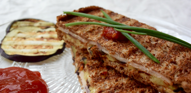 Semi-healthy hangover sandwich with grilled eggplant, smoked chicken and sambal