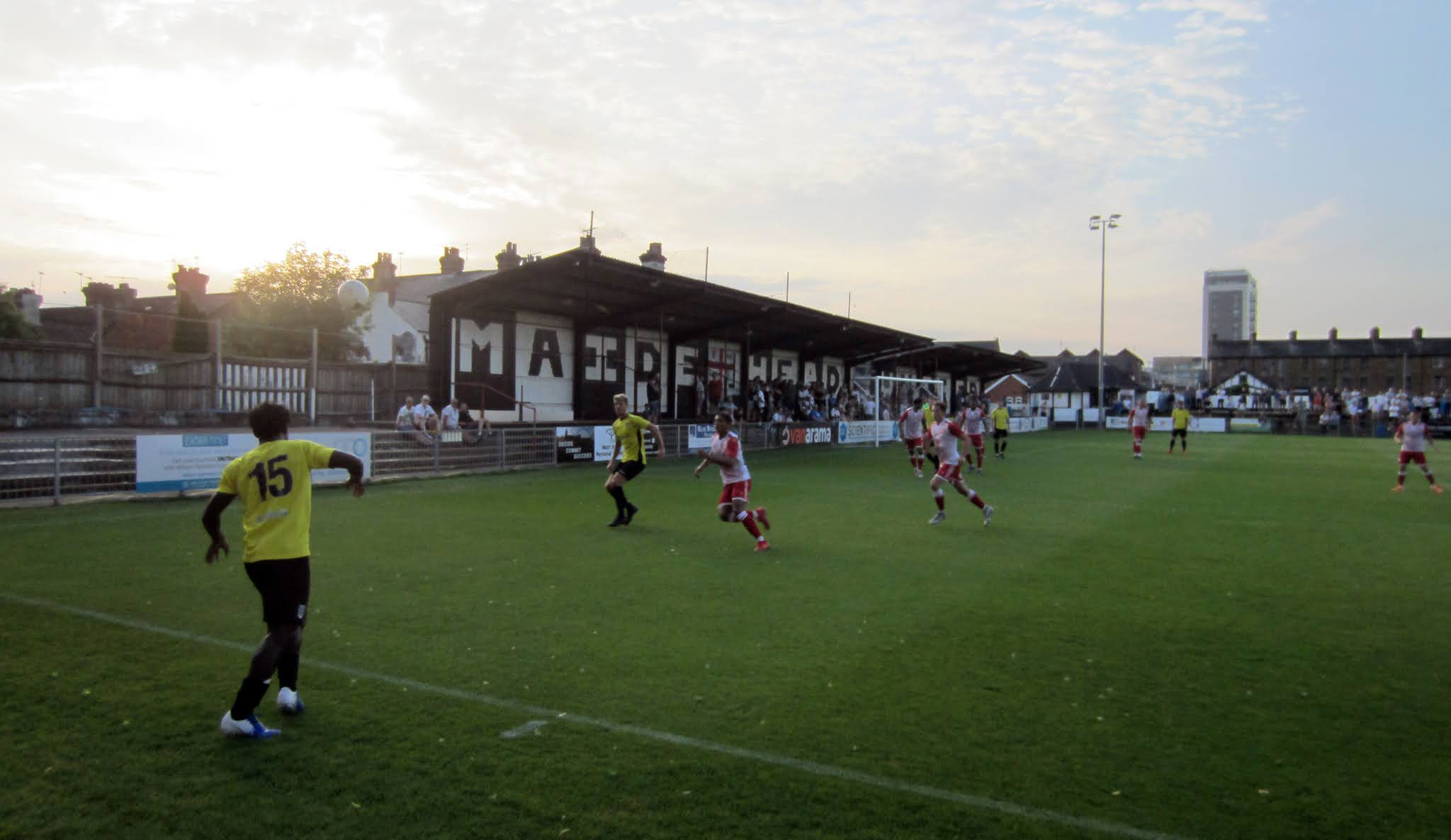 A throw in during a game between Maidenhead and Stevenage
