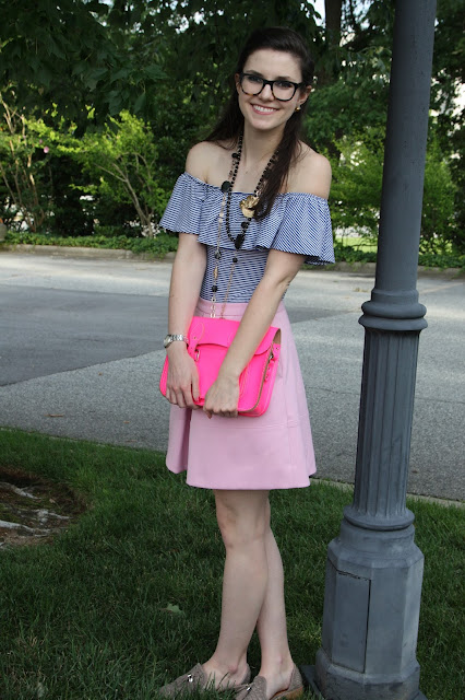 2017, OOTD, summer, pink, off-the-shoulder, J.Crew, ruffle, girly,