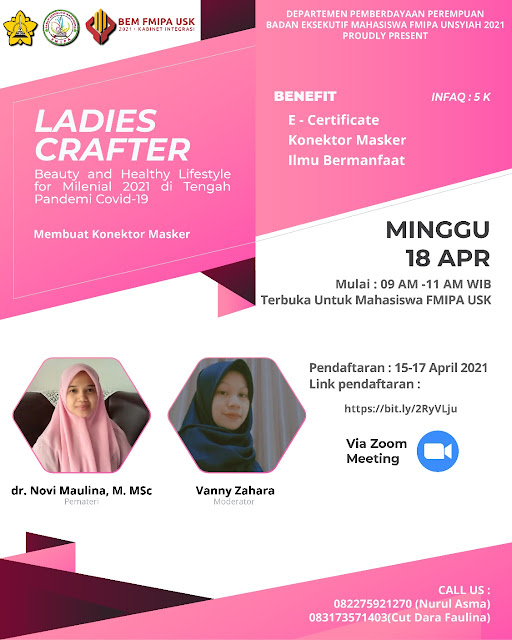 Webinar Ladies Crafter tema Beauty and Healthy Lifestyle for Milenial 2021 di Tengah Pandemi Covid-19
