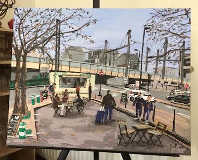 Quai de Paludate, à Bordeaux, près de la gare, peinture acrylique de Karine Babel