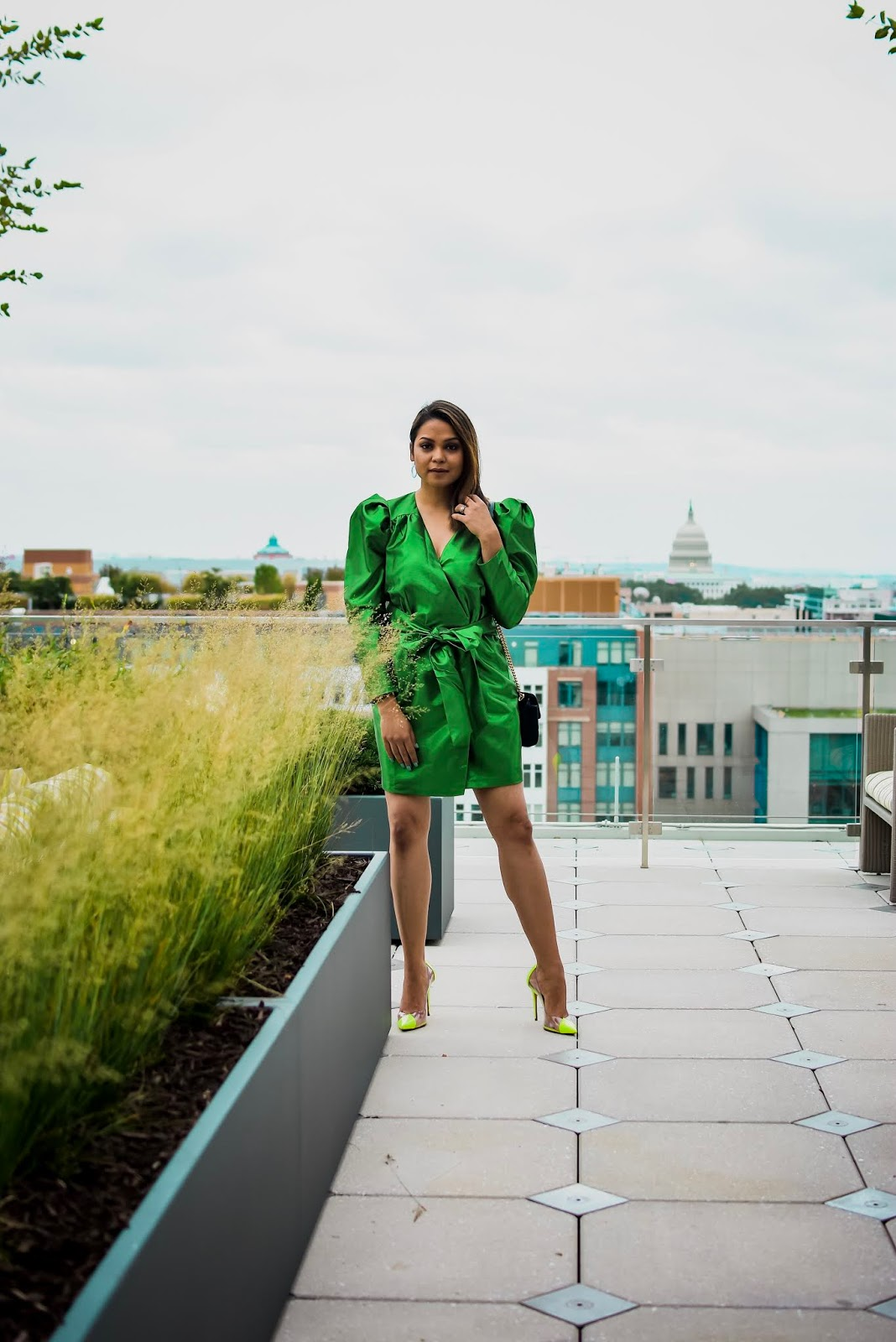 color trends for fall, fall fashion, colors for fall, green and neon, happyxnature green dress, party outfit, power shoulders, mini dress for new year, saumya shiohare, myriad musings