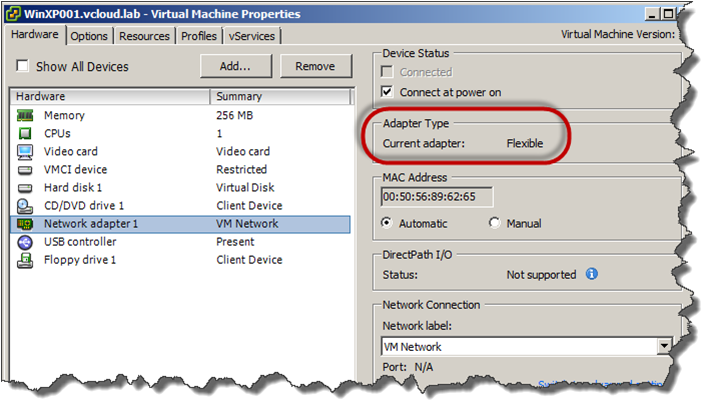 vGeek: Changing network adapter type in VMware