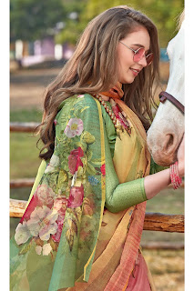 Organza Tissue Printed Saree In Green And Pink Colour design