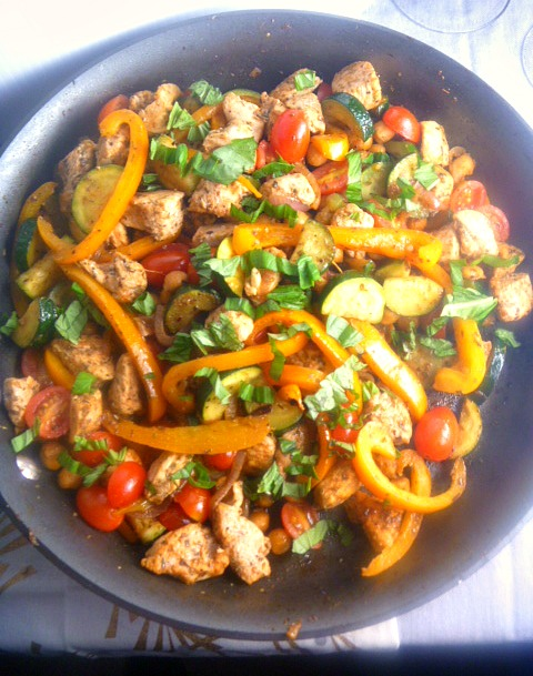 This easy Mediterranean style skillet dish of bold flavored chicken and vegetables comes together in under 30 minutes! - Slice of Southern