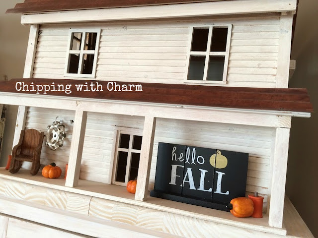 Chipping with Charm: Doll House Fall Porch www.chippingwithcharm.blogspot.com
