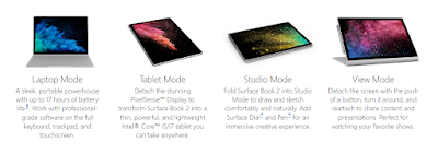 Surface Book 2 different modes