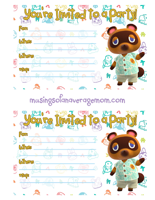 free animal crossing new horizons birthday printables