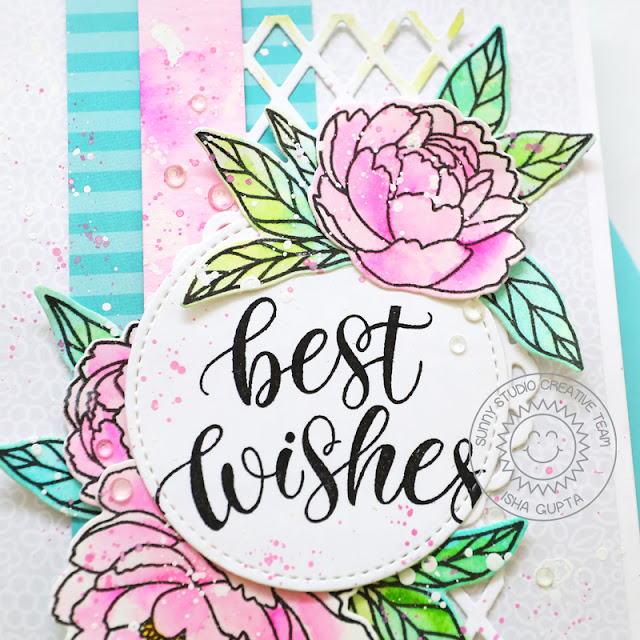 Sunny Studio Stamps: Pink Peonies Frilly Frame Dies Stitched Circle Dies Best Wishes Card by Isha Gupta