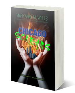 Woman's hands hold up a city on fire. Maryanne M. Wells, author of the Undead Bar Association Series. Chicago Screams. Book 1 of Lies in Shadows.