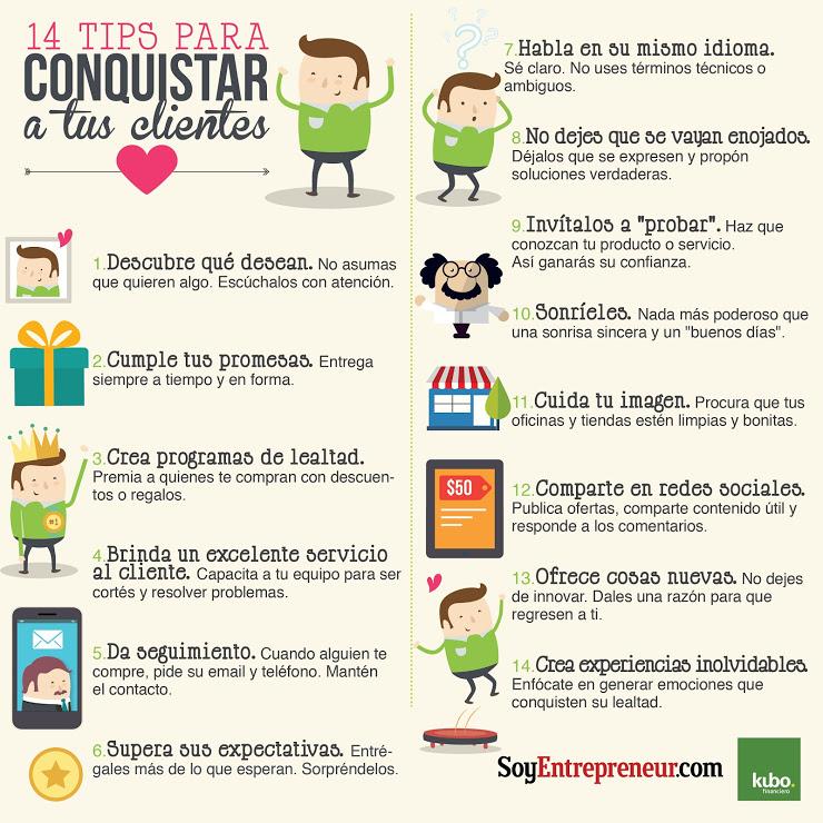 Infografía 14 Tips para conquistar a tus clientes.