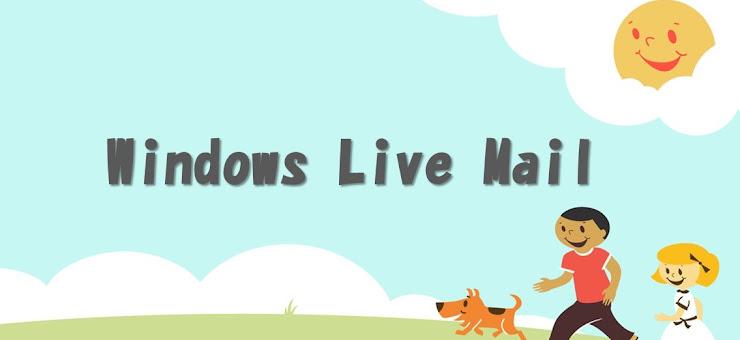 お日様が顔を出し、男と女の子と犬が散歩している丘の上にWindows Live Mailのロゴ