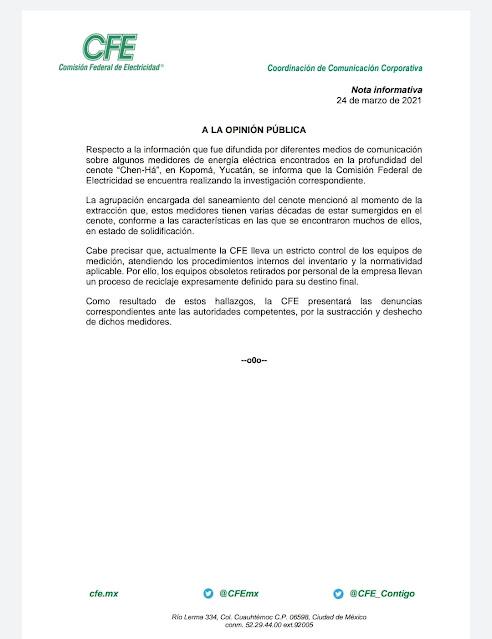"""Dice CFE que presentará denuncia por """"algunos"""" medidores encontrados en el cenote Chen Há"""